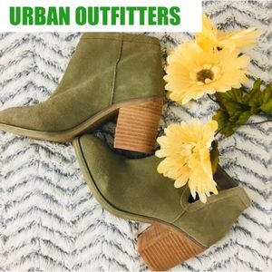 Urban Outfitters Army Green Suede Slip On Booties